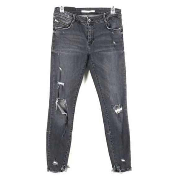 1049bc1e Zara Jeans | Gray Distressed Denim Ripped Skinny | Poshmark